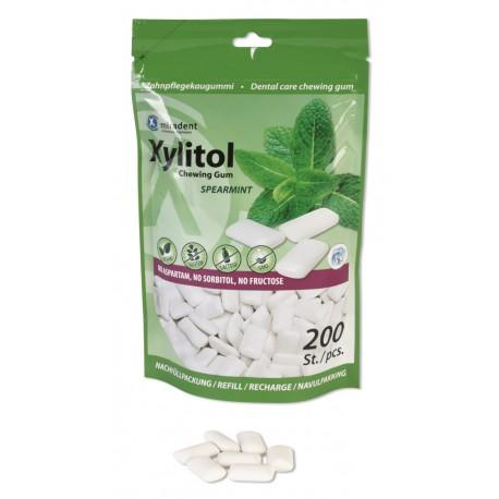 Bolsa chicles Xylitol marca Miradent sabor Hierbabuena 200 uds pack economico